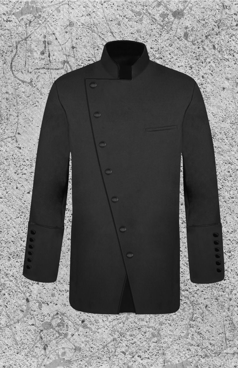 Black Double Breasted Clergy Frock Jacket for Men