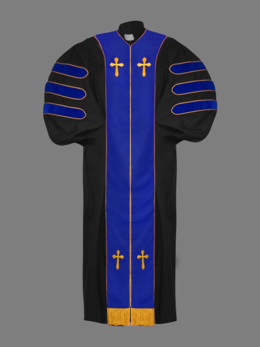 Dr. of Divinity Clergy Robe in Black with Blue & Gold Doctor Bars