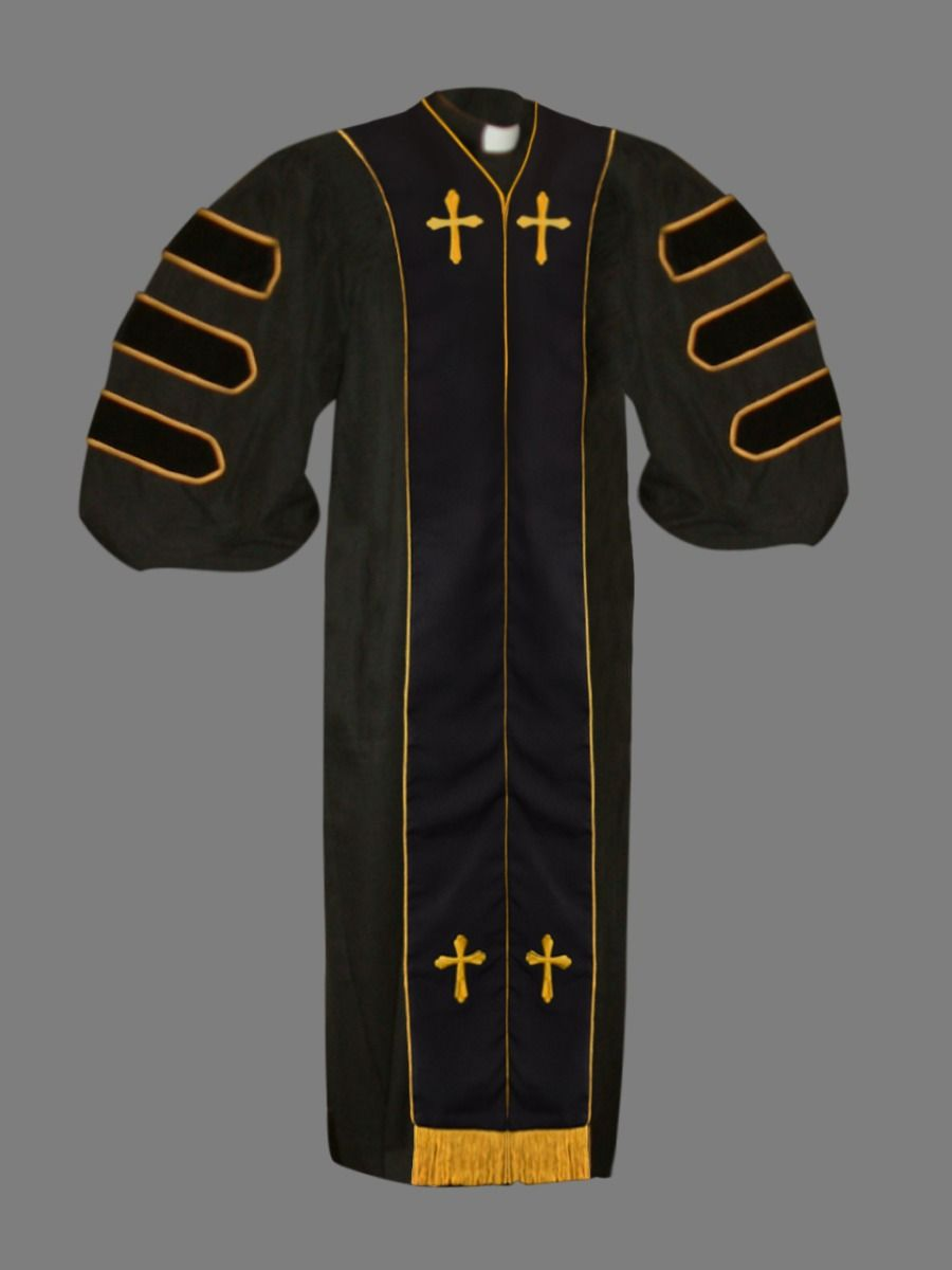Dr. of Divinity Clergy Robe in Black and Gold
