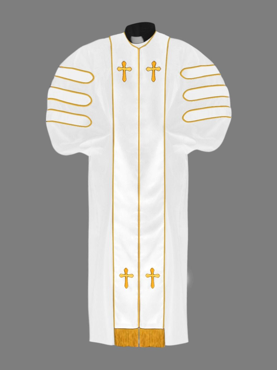 Dr. of Divinity Clergy Robe with White and Gold Doctor Bars