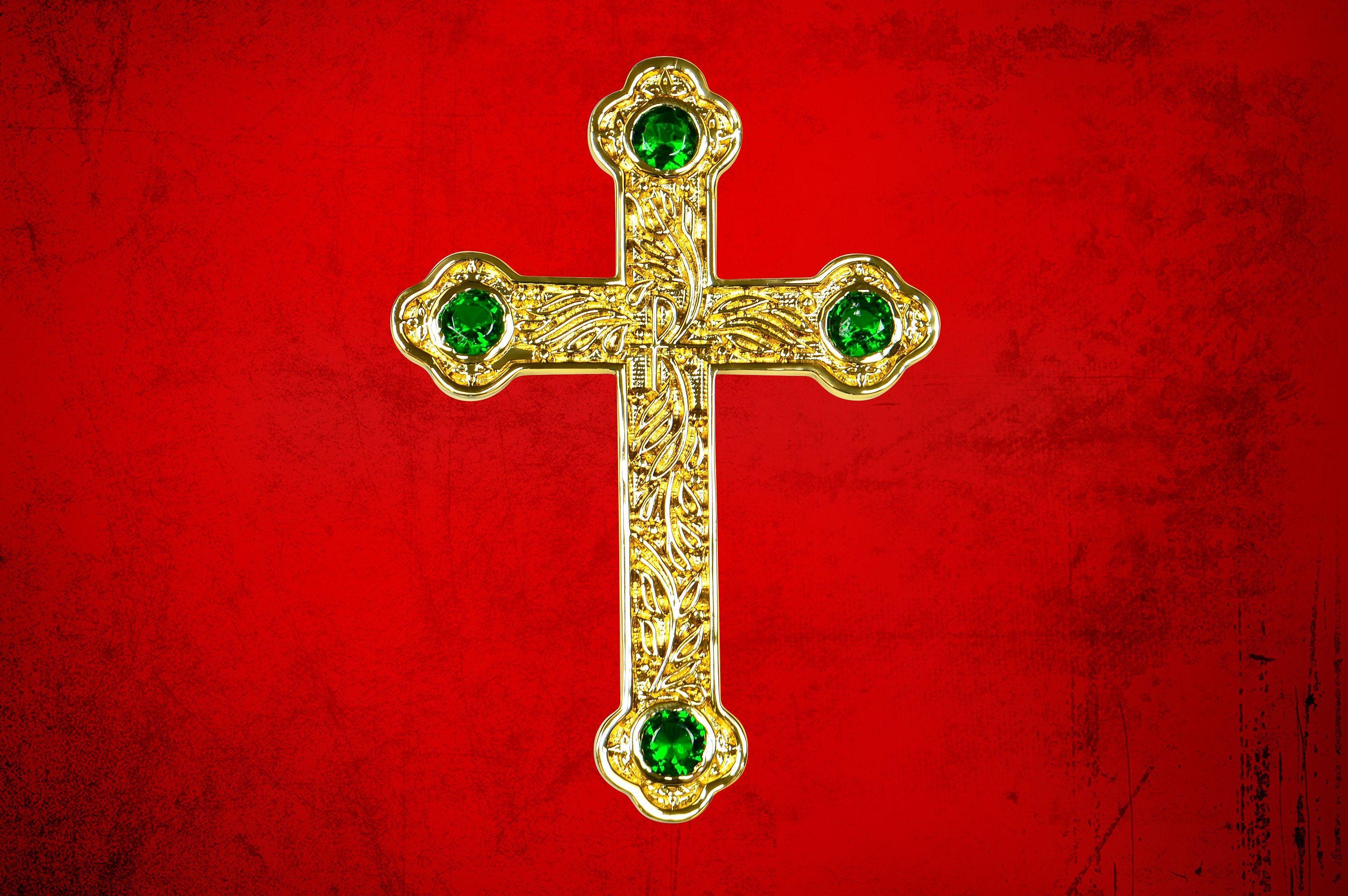 Premium Pectoral Cross Pendant & Chain Set with Emerald Green