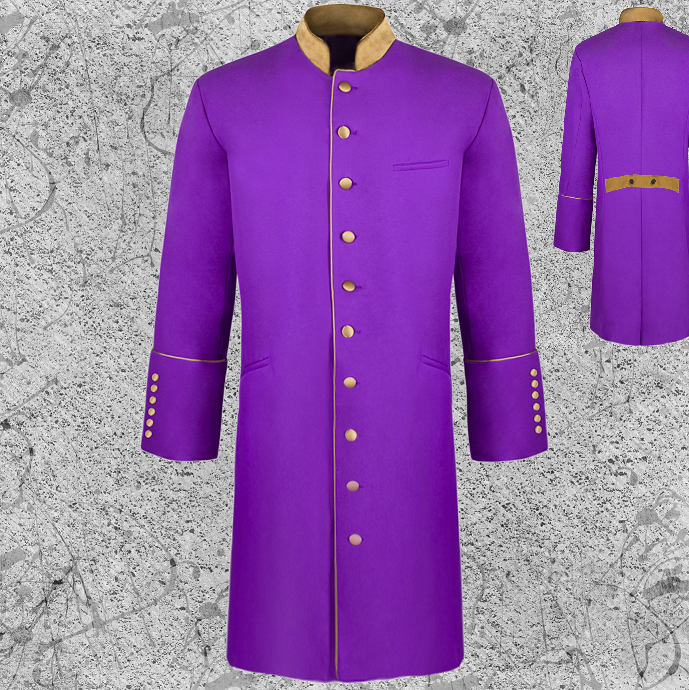 Men's Long Frock Jacket Clergy Purple