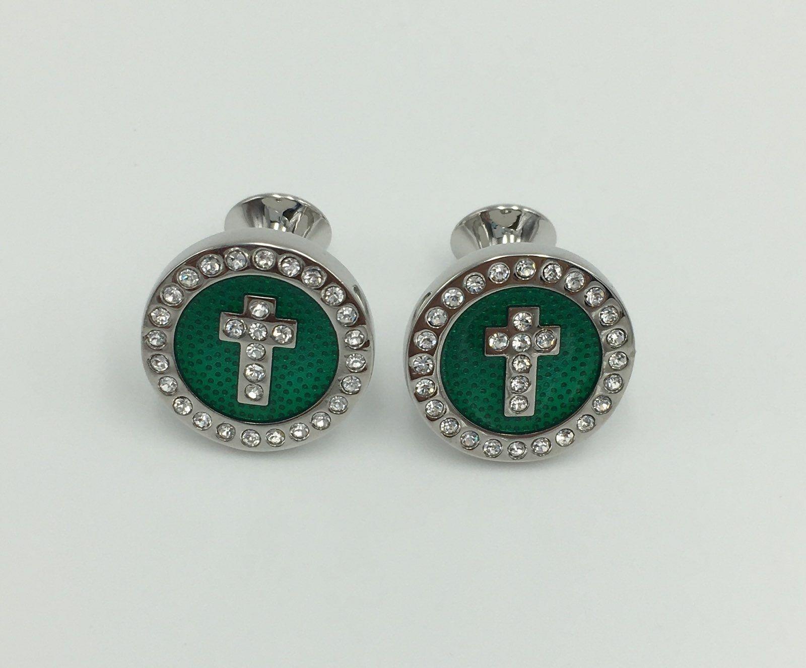 2 Pc. Noble Circle Cross Diamond Stone Cufflinks - Emerald Green