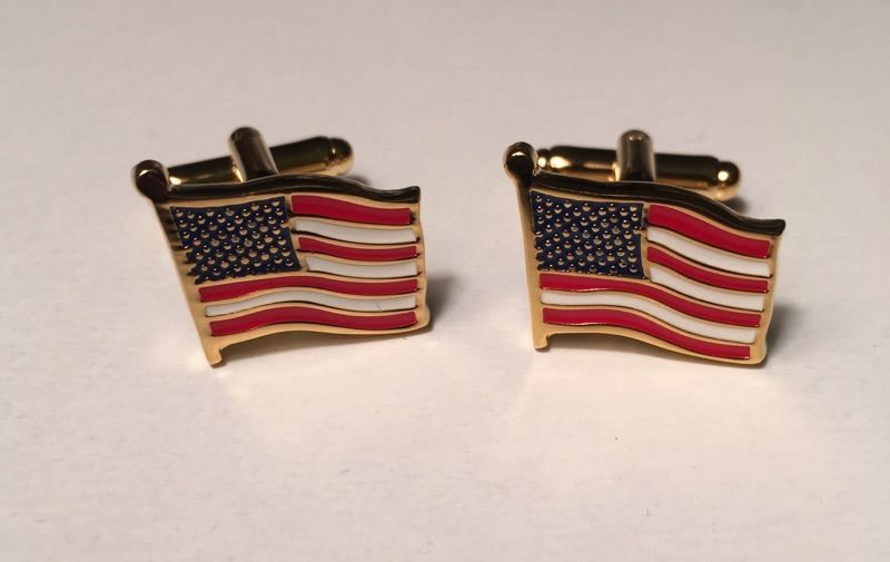 2 Pc. American Flag - God Bless America Style Cufflinks with Windy Look in Gold