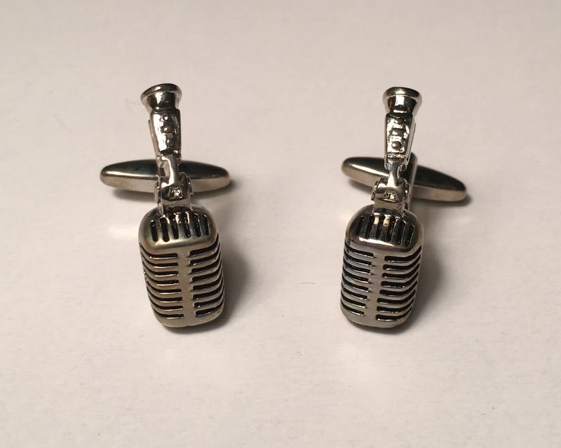 2 Pc. 3D Singing Recording Praising Microphone and Stand Cufflinks