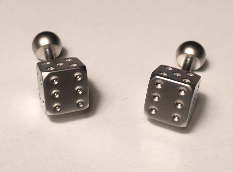 2 Pc. Chain-like Square Classy Dice Cufflinks in a Clean Silver