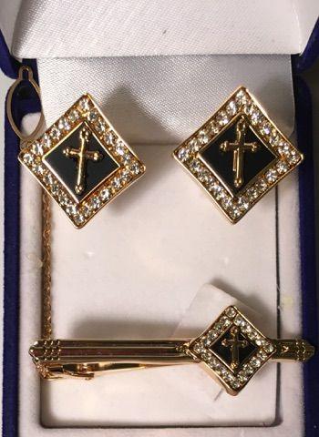 3 Pc. Black Diamond Square Cross Cufflinks and Tie Bar Set