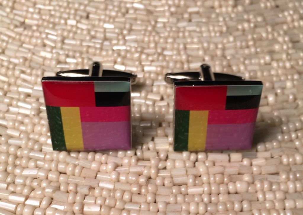 2 Pc. Rainbow Colored Rectangle Spaces Fashion Design Cufflinks