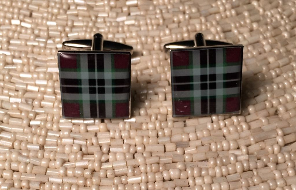 2 Pc. Green/Brown Plaid Fashion Design Cufflinks