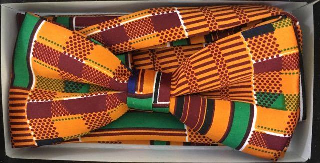 Men's African Heritage Kente Pattern Bow Tie + Hanky - Church Gold Pattern