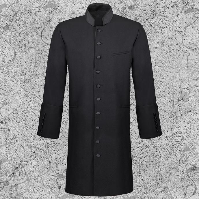 Men's Long Clergy Jacket Black