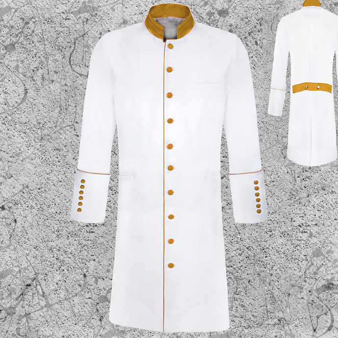 Men's Long White Clergy Jacket