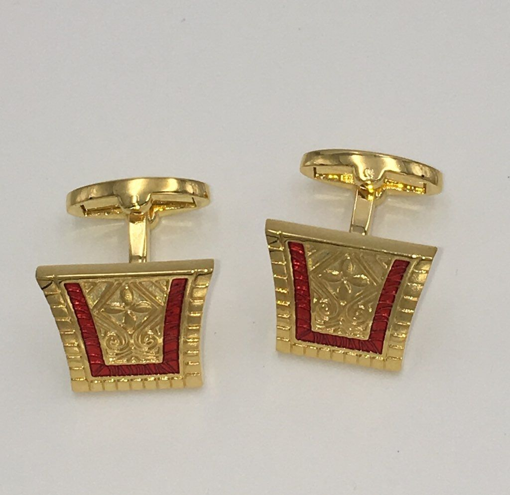 2 Pc. King of the Nile Style Cufflinks - Perfect Red