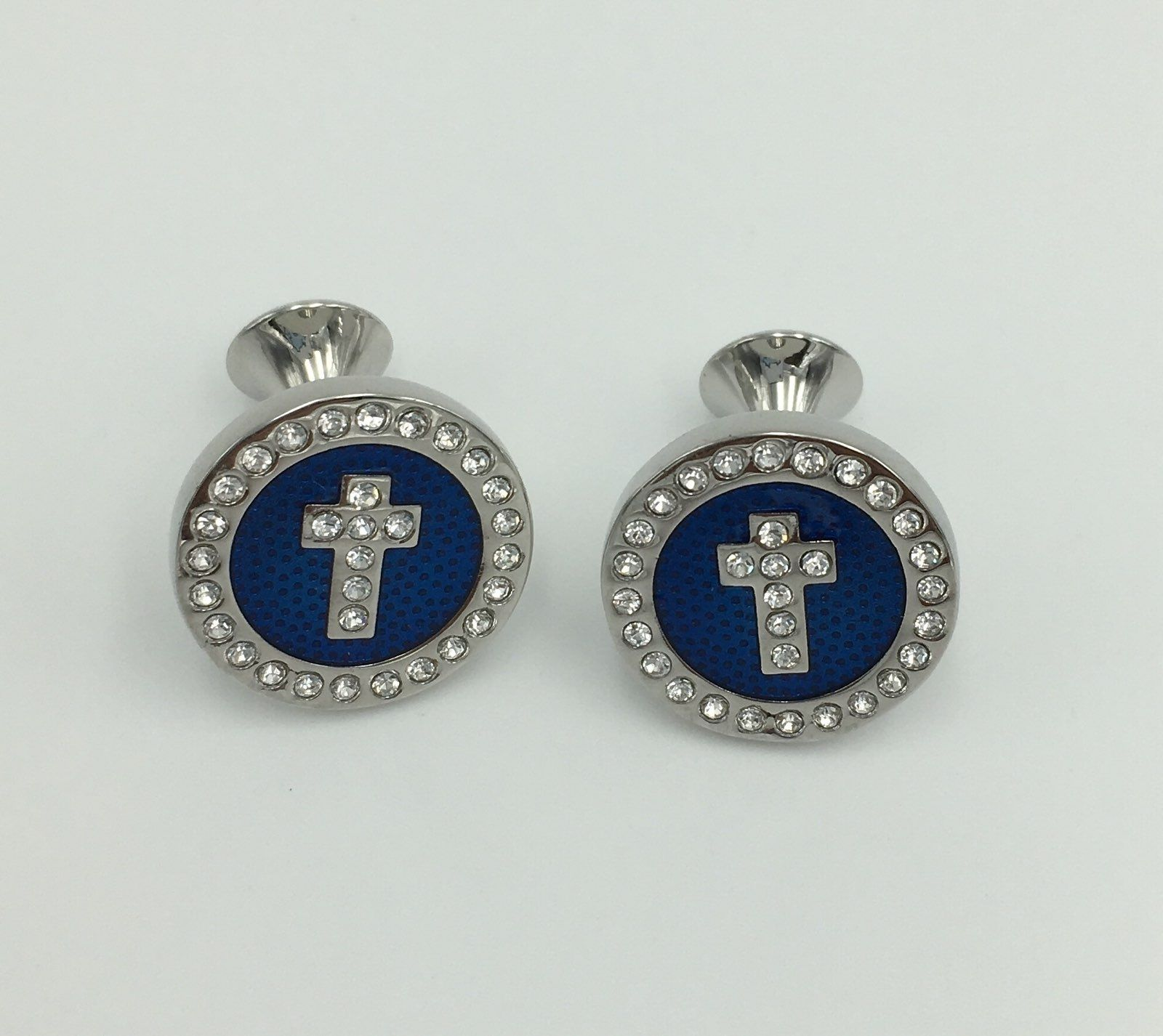 2 Pc. Noble Circle Cross Diamond Stone Cufflinks - Cobalt Blue