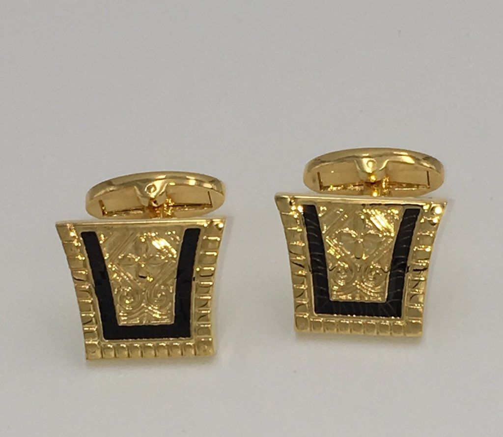 2 Pc. King of the Nile Style Cufflinks - Jet Black