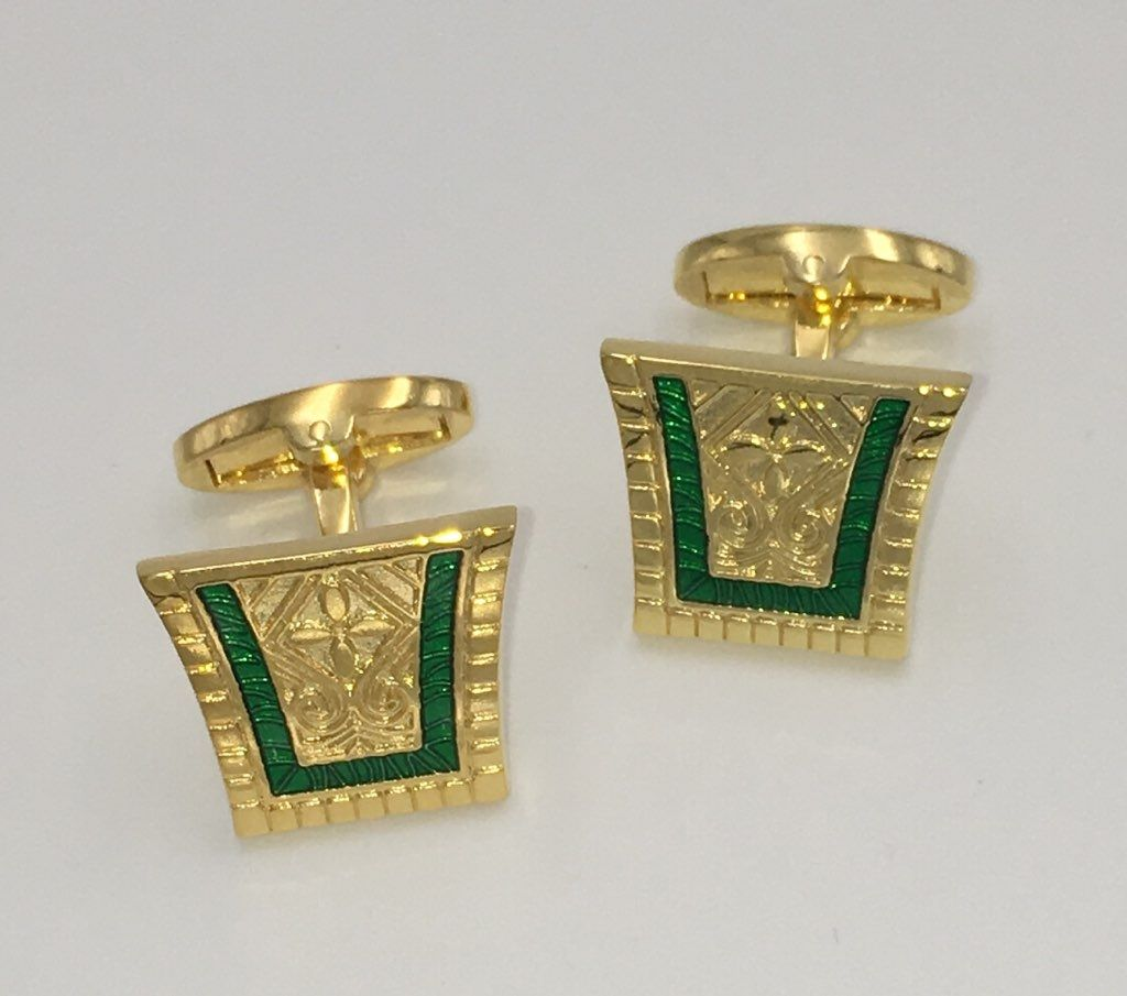 2 Pc. King of the Nile Style Cufflinks - Emerald Green