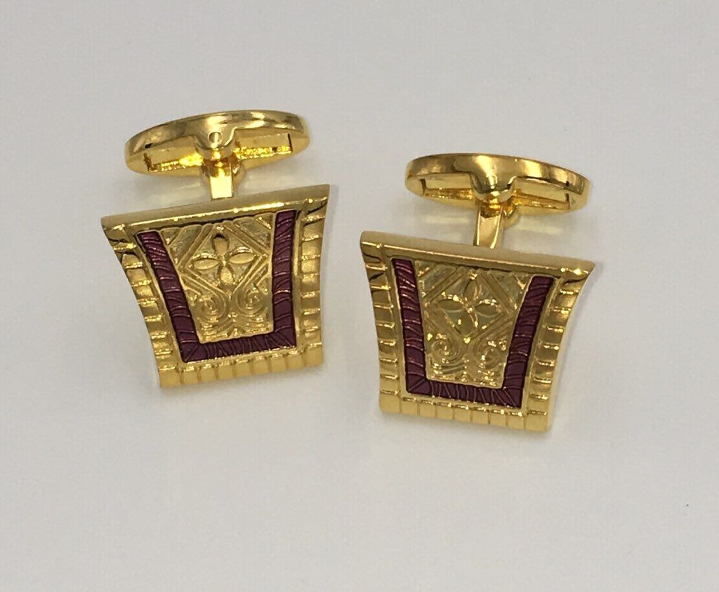 2 Pc. King of the Nile Style Cufflinks - Plum Purple
