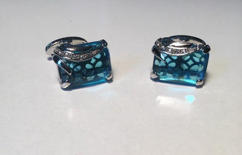 2 Pc. Premium Blue Zircon Stone with Chrome Accents Cufflinks
