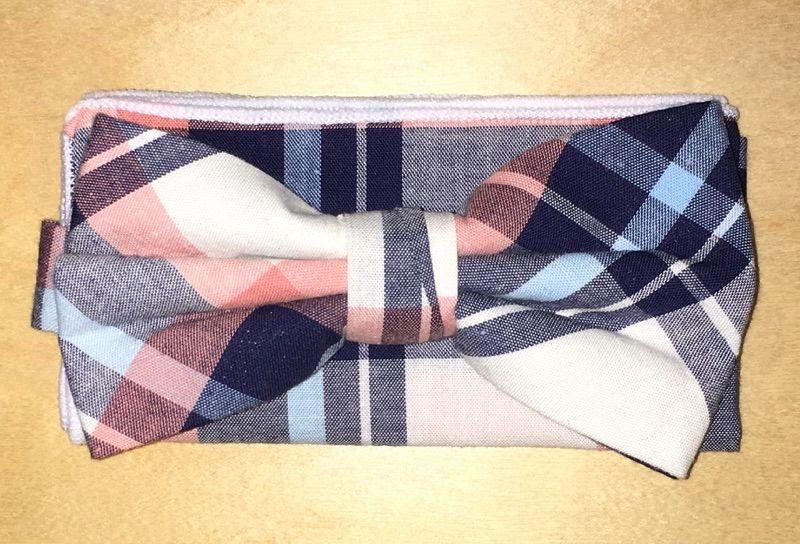 Men's 100% Cotton Plaid Designed Bow Tie + Hanky - Blue