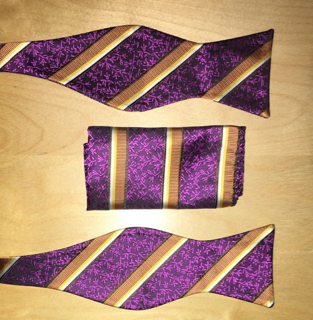 *Men's Self-Tie Butterfly Striped AND Floral Bow Tie + Hanky - Purple and Gold