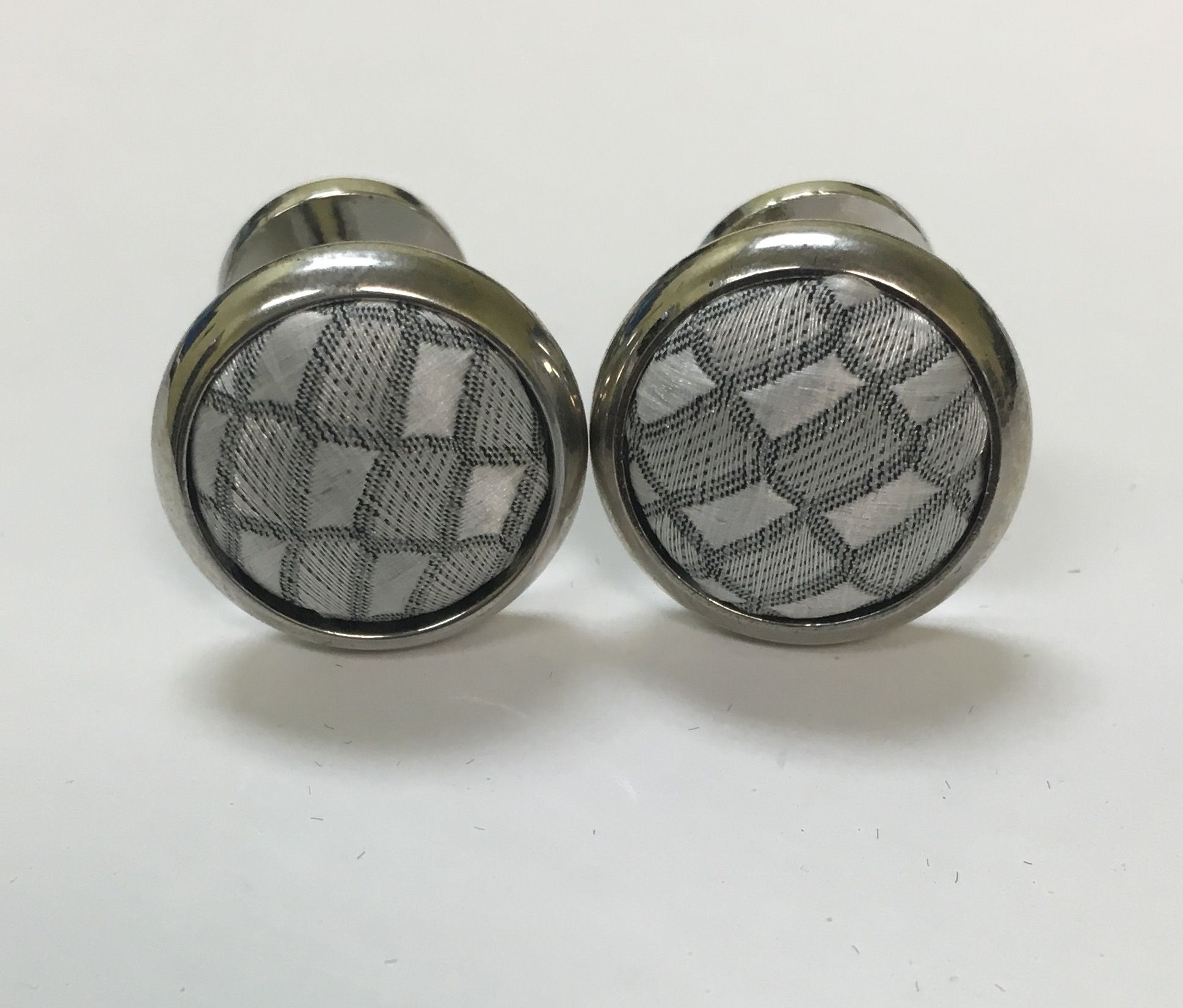 *2 Pc. Exquisite Fabric Cufflinks - Silver Gray