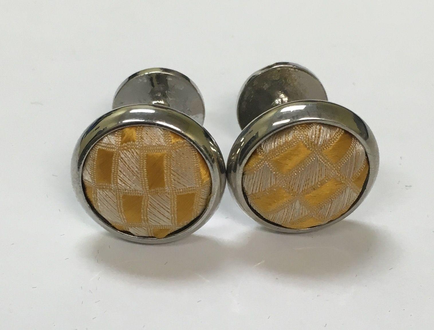 *2 Pc. Exquisite Fabric Cufflinks - Gold