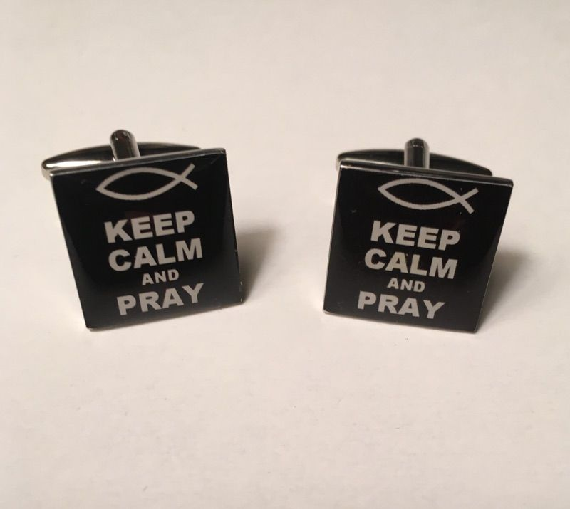 2 Pc. Square Trendy Keep CALM and PRAY with Holy Ichthys Cufflinks