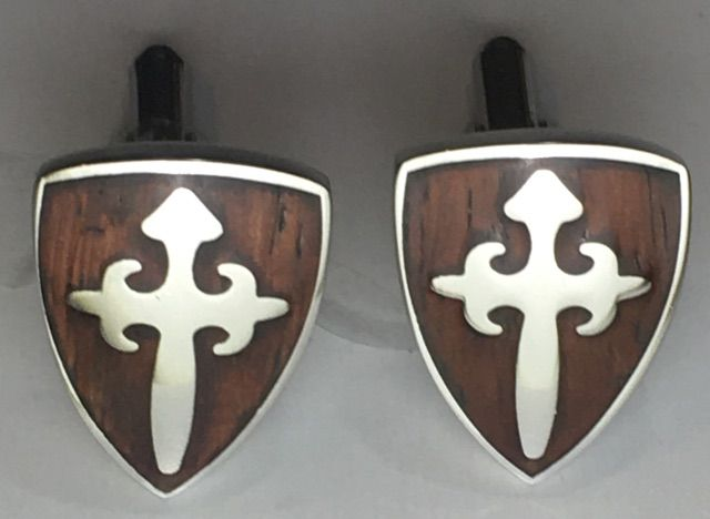 2 Pc. Lord Protection Shield & Cross with Wood Backing - Stainless Steel Edition