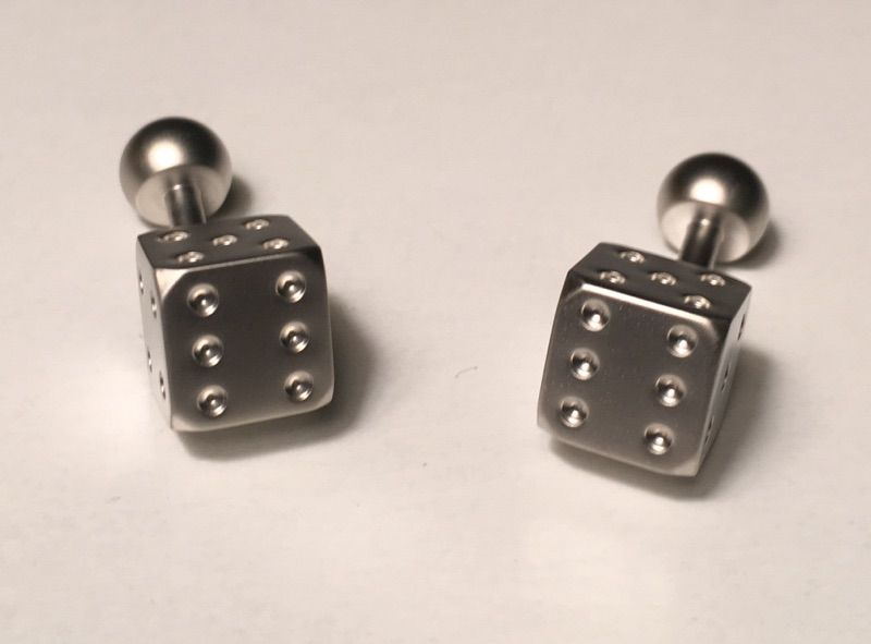 2 Pc. Chain-like Square Classy Dice Cufflinks in a Clean Silver