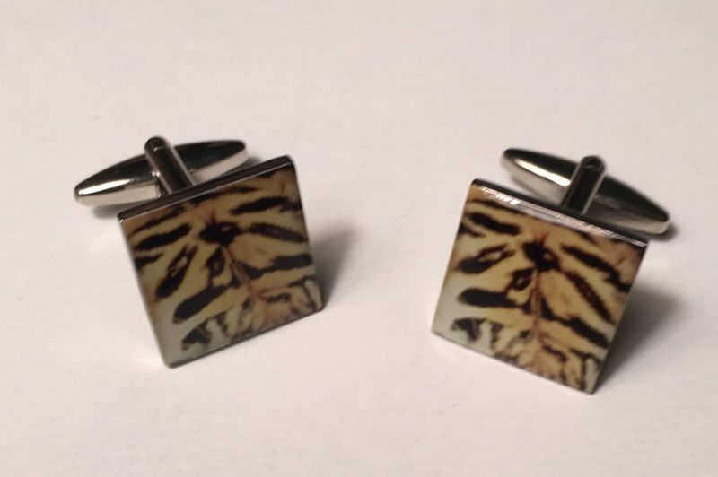 2 Pc. Exotic Tiger Print Design Cufflinks