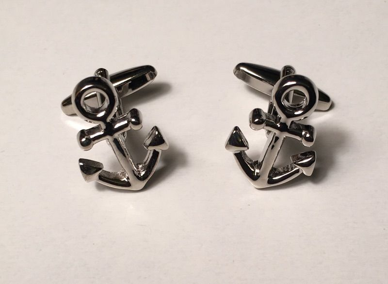 2 Pc. Sailor Boat STOP Anchor Silver Cufflinks