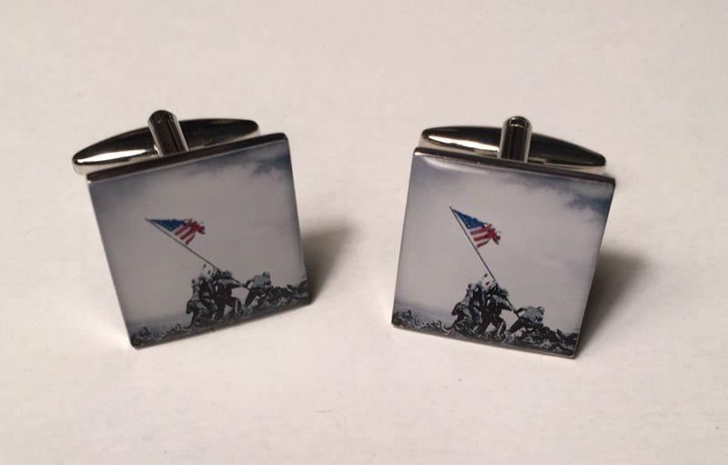 2 Pc. American Flag Iwo Jima Honoring Remembrance Cufflinks