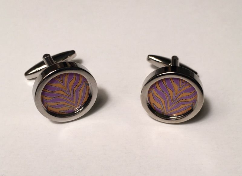 2 Pc. Exotic Animal Footprint Design Circular Cufflinks with Lilac and Gold Traces