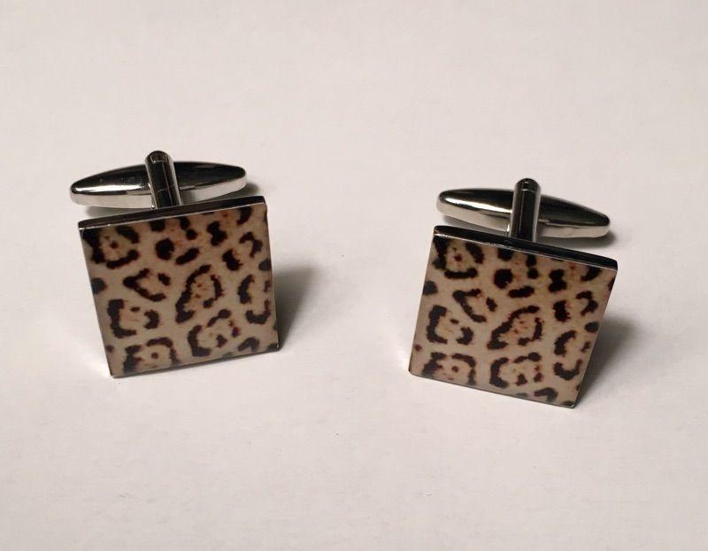 2 Pc. Exotic Cheetah Print Design Cufflinks