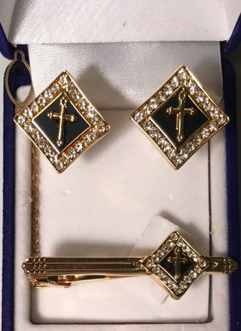 3 Pc. Black Diamond Square Cross Cufflinks and Tie Bar Set