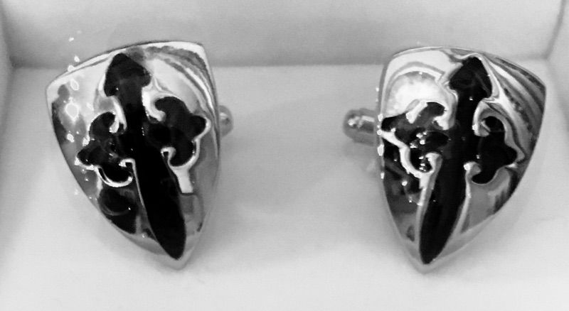 2 Pc. Religious Silver and Black Shield Cross Cufflinks