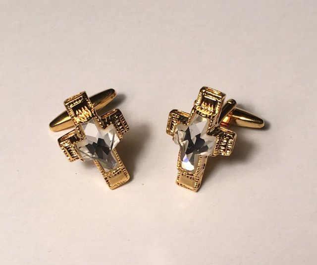 *2 Pc. Religious Ivory Magnificent Stone in a Gold Cross Cover Cufflinks
