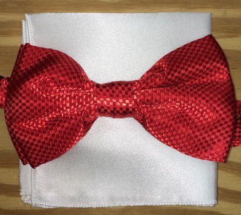 *Men's Checkered Fashion Silky Pattern Bow Tie + Solid Hanky - Red