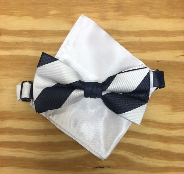 *Men's Striped Classy Navy and White Bow Tie + Solid Hanky