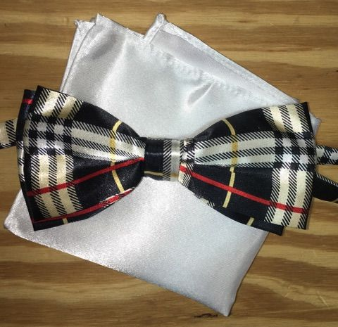 *Men's Plaid Black-Gold-Red Bow Tie + Solid Hanky