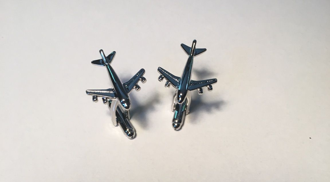 2 Pc. Transportation Airplane Traveling Dreams Cufflinks