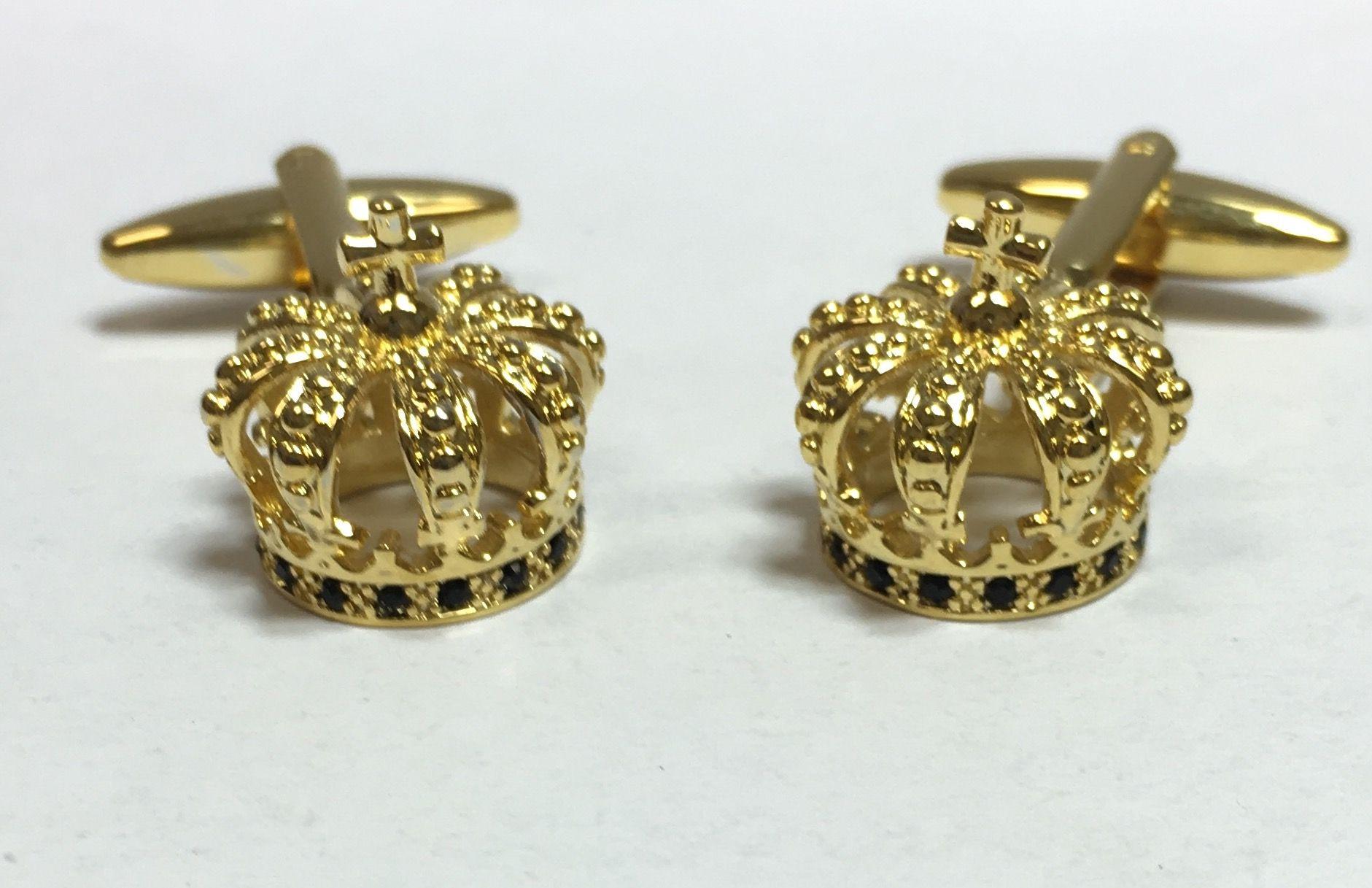 *Gold Religious Superior Crown Cross Cufflinks