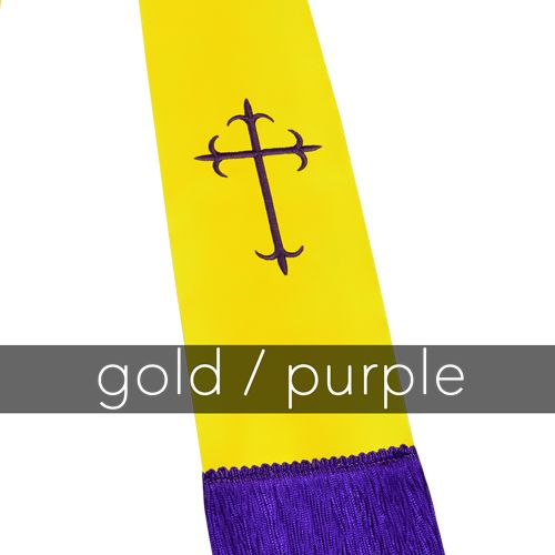 Clergy Stole - Gold Satin with Purple Latin Crosses