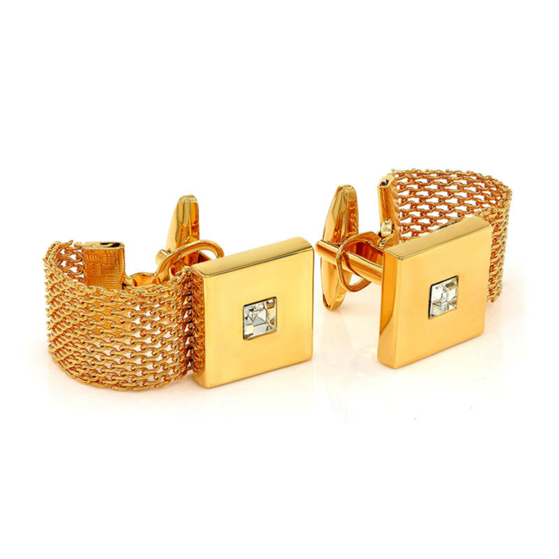 2 Pc. Chain Wrap-Around Square Cufflinks with a Crystal Stone - GOLD