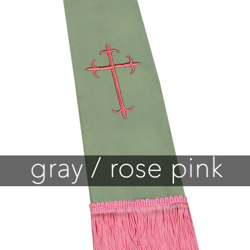 Clergy Stole - Grey Satin with Rose Latin Crosses