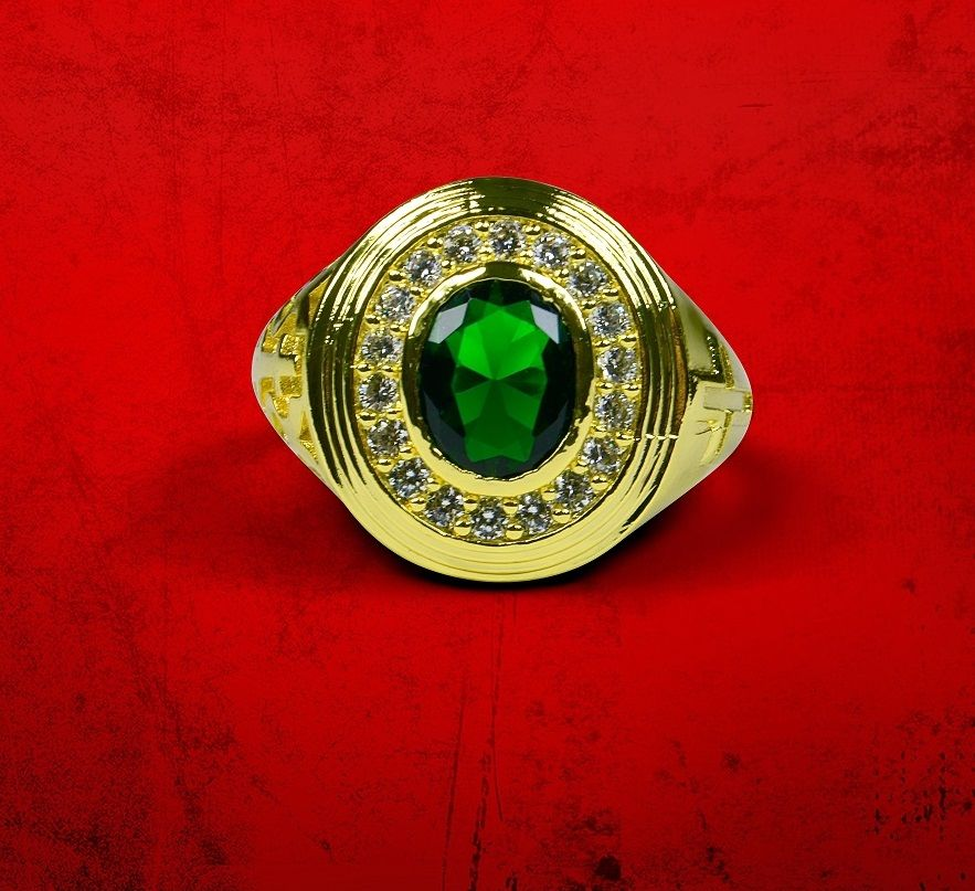 Mens Premium Clergy Ring with Green Stone - Gold w/ Green