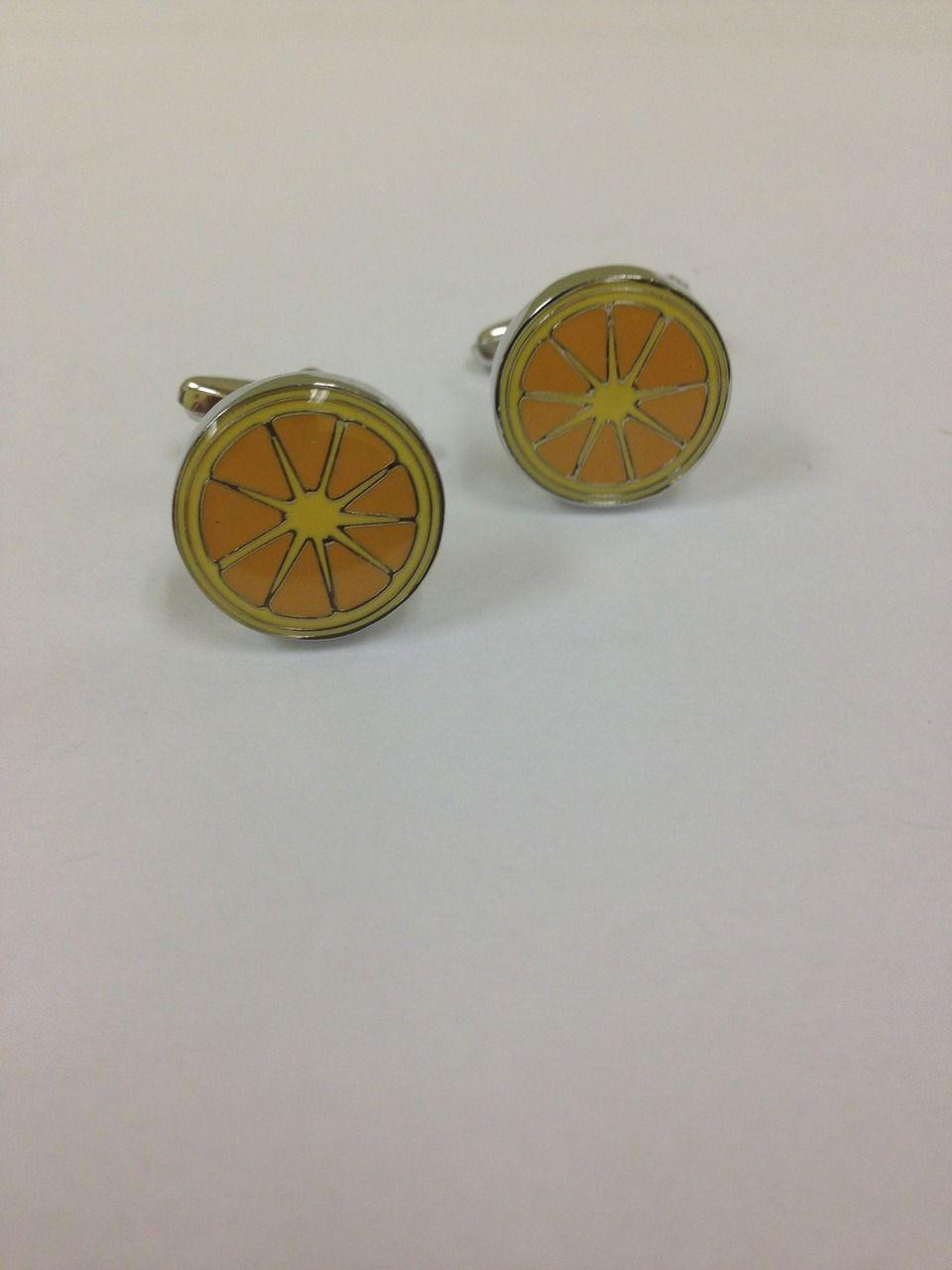2 Pc. Circle Orange Tangerine Piece Cufflinks