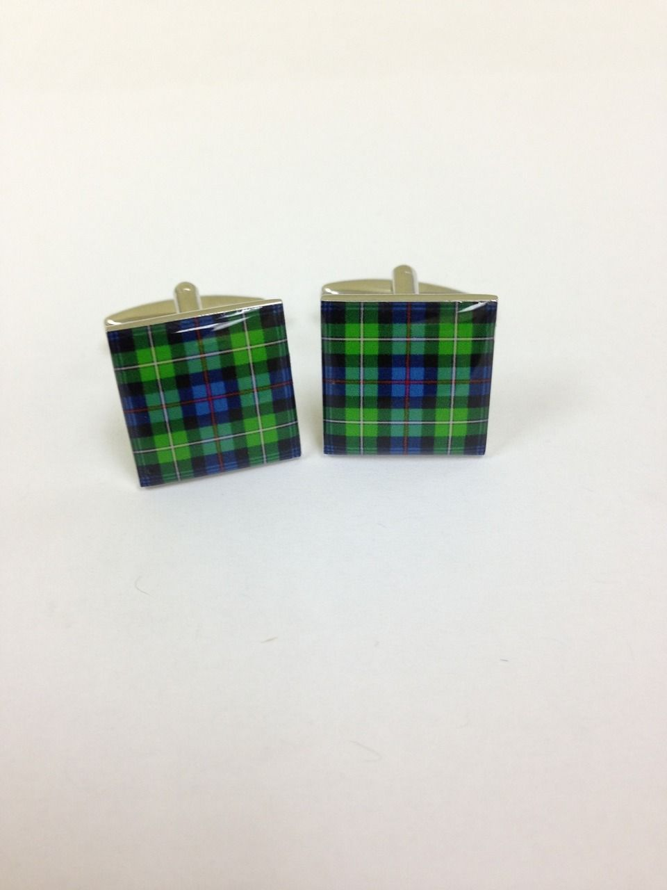 2 Pc. Green/Blue Plaid Fashion Design Cufflinks