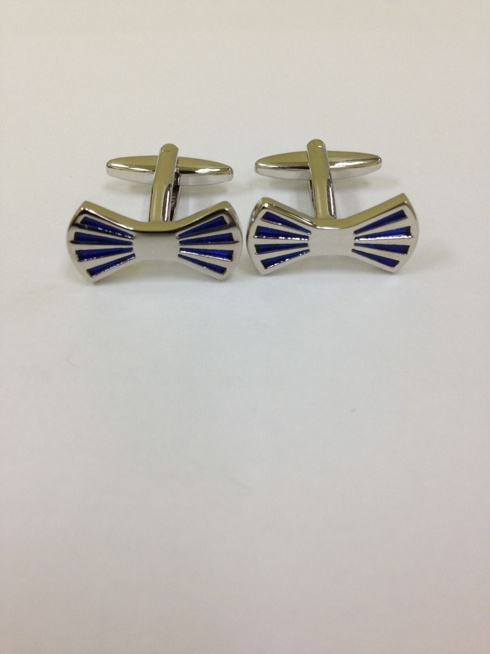 2 Pc. Blue Bow Tie Formal Fashion Design Cufflinks