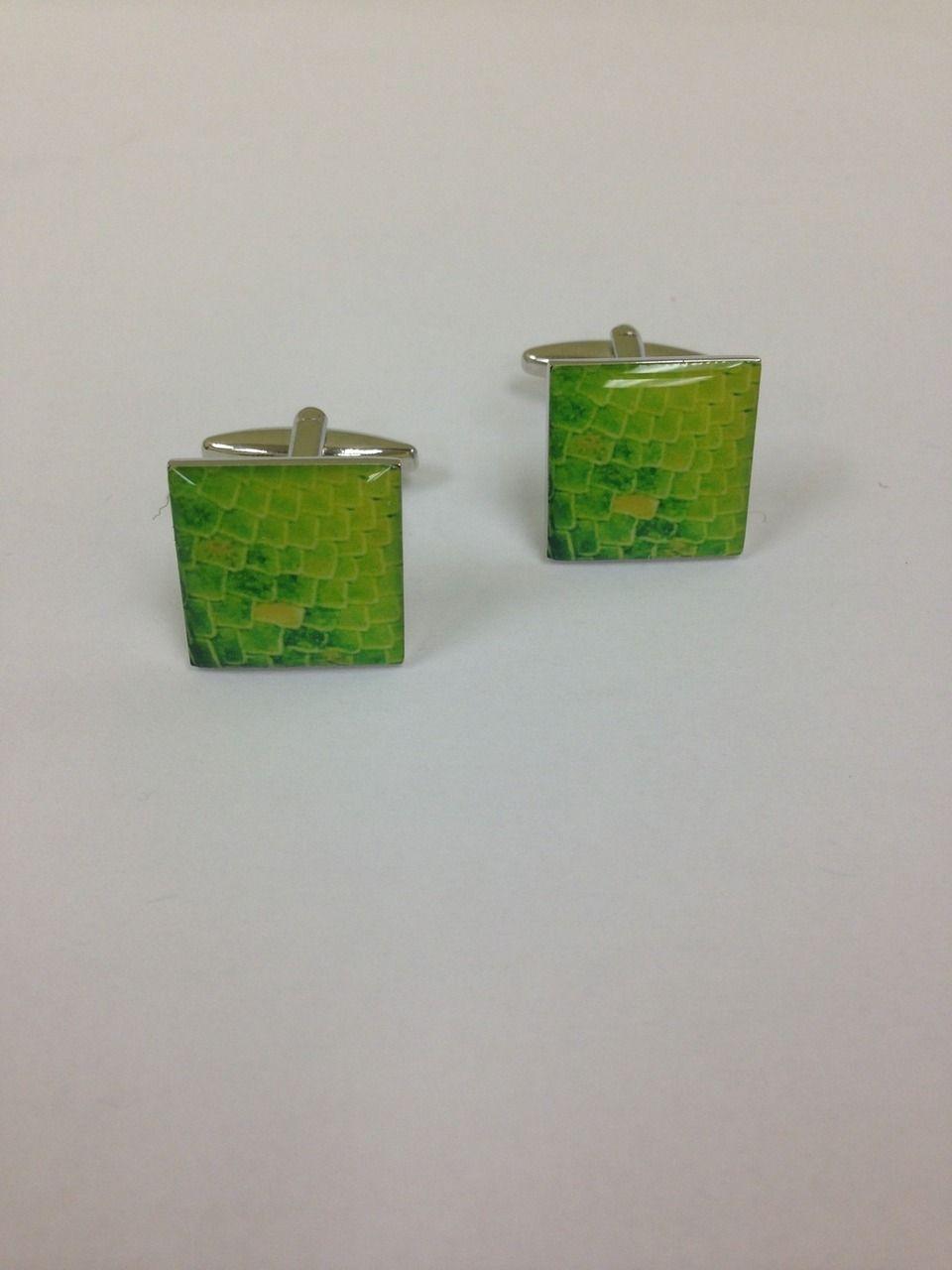 2 Pc. Gator Print Green Design Cufflinks